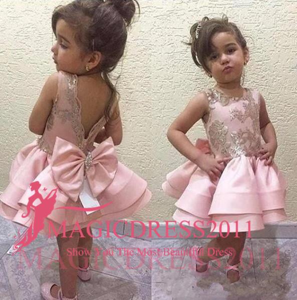 2019 robes de demoiselle d'honneur roses pour mariage pas cher t-shirt à manches courtes en dentelle longueur de plancher en tulle blanc robe de première communion petite robe d'anniversaire enfant