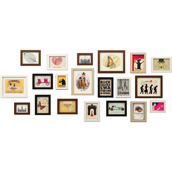 Simple Modern Style Wooden Wall Photo Frame 20 pcs Cheap Photo Frame Set Wedding Decor Wall Picture Frames marcos de fotos pared