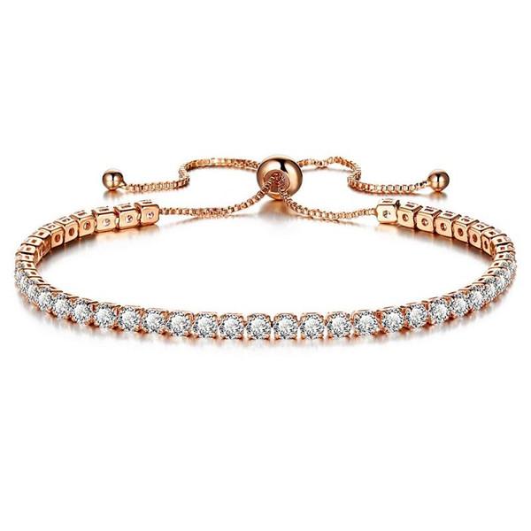 Lüks köpüklü kristal itme-çekme ayarlanabilir bileklik bileklik manşet kadınlar için altın gümüş alaşım tek sıra renkli link zinciri takı