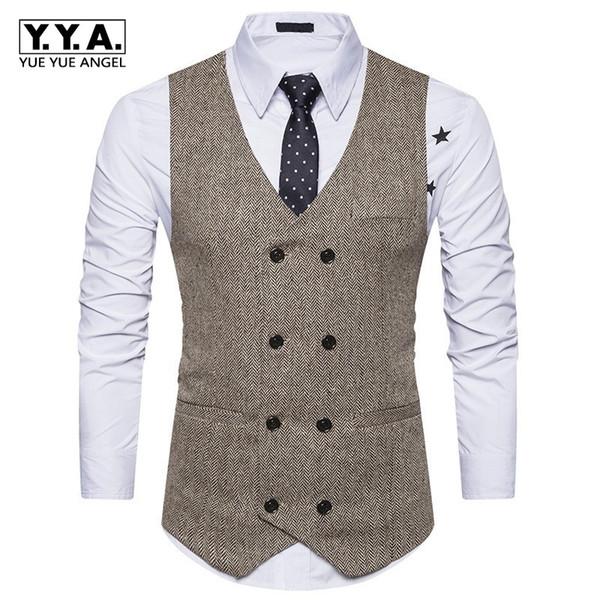 2018 nuevo para hombre delgado chaleco de doble botonadura Vintage negro caqui Traje formal traje de negocios chaqueta sin mangas Tops Homme