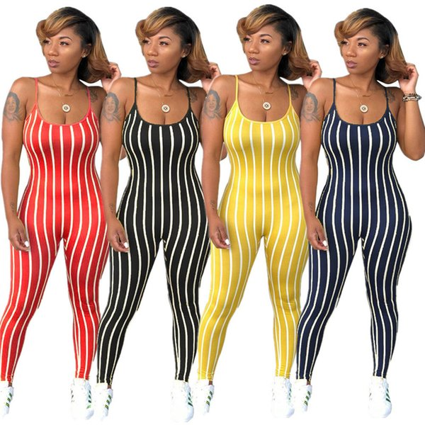 sexy bodysuit tracksuit rompers womens jumpsuit skinny strap sleeveless striped print slim casual overalls combinaison femme