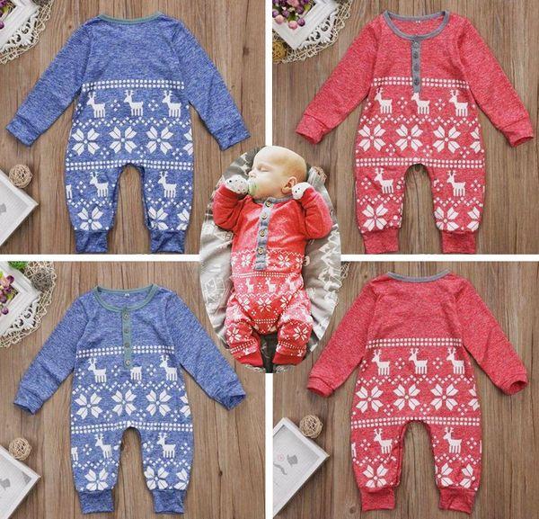 2b363501d23b Xmas christmas ELK Deer Print Baby Boys Girls snowman rompers Infant Knit  Romper perfect gift kids Jumpsuit Bodysuit cotton Clothes Outfits