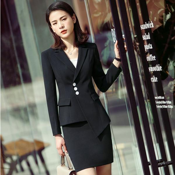 2018 Yeni Moda Düzensiz Blazers Ceketler Ile Suits Ve Etek Bayanlar İş Kadın Ofis Iş Elbisesi Setleri Için EleBlack