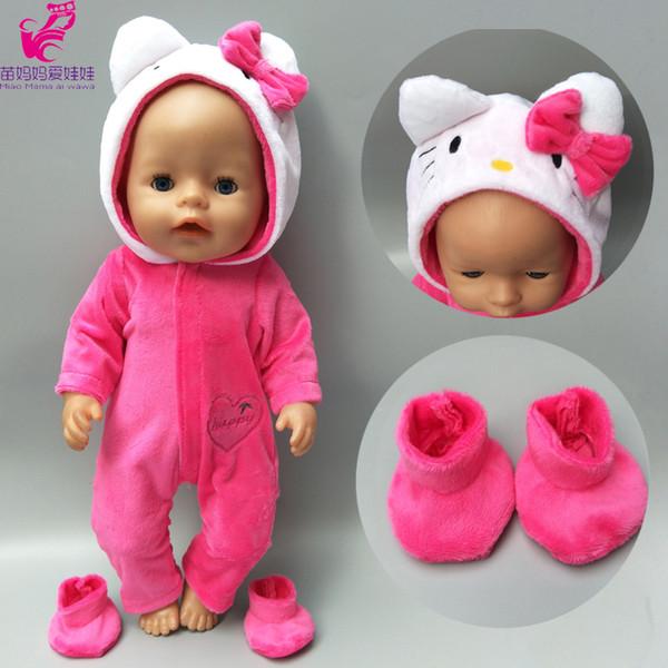 43 cm için bebek giysileri doğan Bebek bebekler coat sevimli kedi kapşonlu set 17 inç için bebek bebek kış giysileri en iyi hediye çocuklar