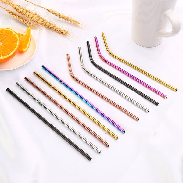 Colorful Stainless Steel Drinking Straws Straight and Bent Reusable Filter With Brush DIY Coffee Tools Party Bar Accessories