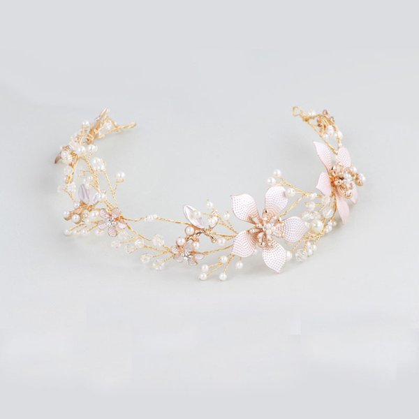 Gold Flower Boho Bridal Hair Vine Headband Wedding Tiara Pearls Hair Jewelry Women Hair Crown Accessories Headpiece