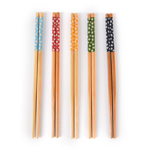 5 Pairs Vintage Natural Eco-friendly Bamboo Wood Print Chopstick Wooden Tableware Set Chinese Elegant Flowers Chopsticks