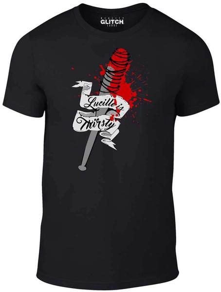 Maglietta da uomo Lucille Is Thirsty - Ispirata da Walking Dead Zombies Walkers Tv Cool Casual Pride Maglietta Uomo Unisex New Fashion