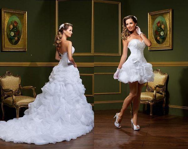 Brautkleider Mit Abnehmbaren Zwei Stücke Schöne Schatz Spitze Blumengarten A-Linie Rüschen Organza Günstige Brautkleider HY4005