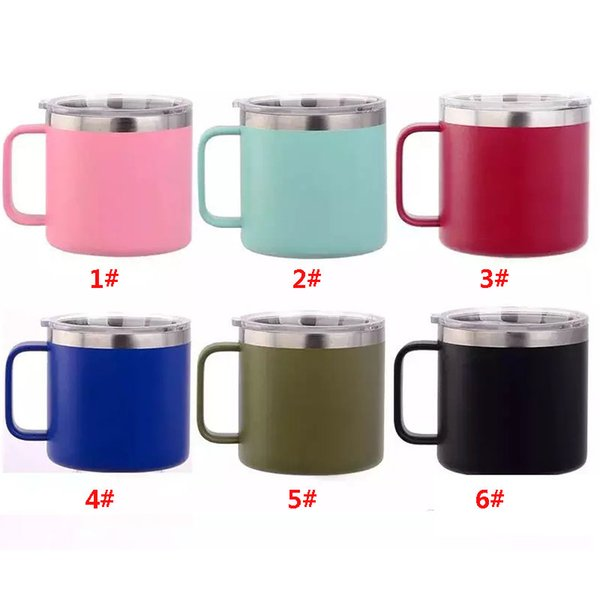 5e22a4faa06 New 14 oz Stainless Steel Mug Cup With Lid Double Wall Vacuum Insulated Mugs  For Outdoor Travel Beer Milk Cup 6 colors TY7-400