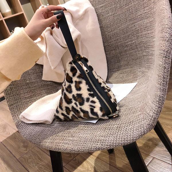 FEMALEE Fashion Woman Tote Bag 2018 dumplings package women's handbag mini Leopard bag triangle women messenger bags Plush