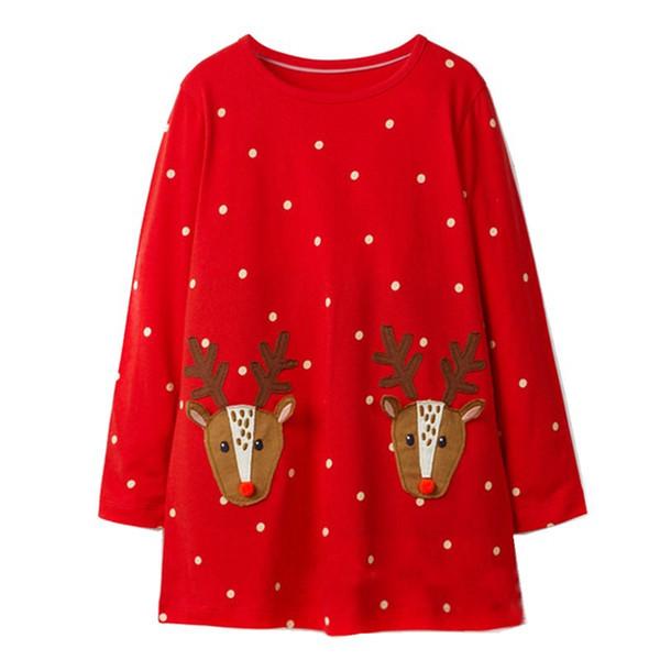 2018 Kid Christmas dress Neonata Abbigliamento Carino Renna Abiti manica lunga Red Dots 100% cotone 18M 2T 3T 4T 5T 6T DHL all'ingrosso