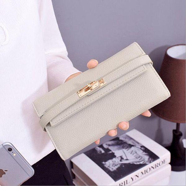serrure à glissière femmes longues portefeuille 4 couleurs rose noir sac à main titulaire de la carte mode cuir pu embrayage