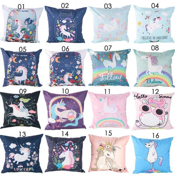 Nuevo Rainbow Unicorn Funda de Almohada Lovely Pony Printing Square Funda de Almohada Suave Pilllowcase Ropa de Cama Textiles para el Hogar 6 99yd ff