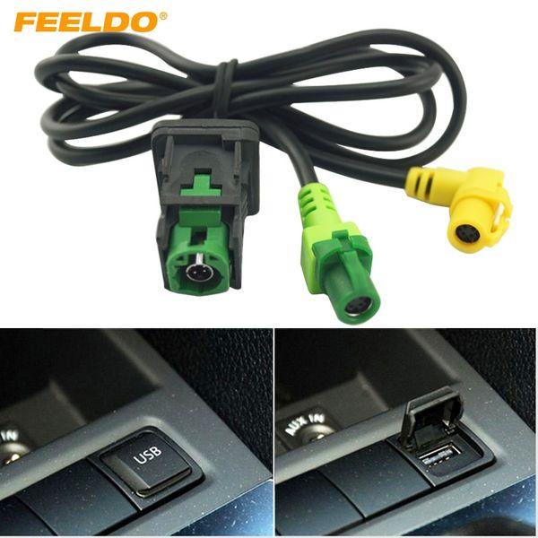 top popular FEELDO Car OEM RCD510 RNS315 USB Cable With Switch For VW Golf MK5 MK6 VI 5 6 Jetta CC Tiguan Passat B6 Armrest Position #1698 2021