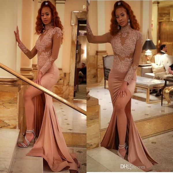 Vintage Dusty Pink Prom Dresses High Neck 2018 Arabic See Through Long Sleeves Split Evening Gowns Mermaid Appliques Sequins African Dresses