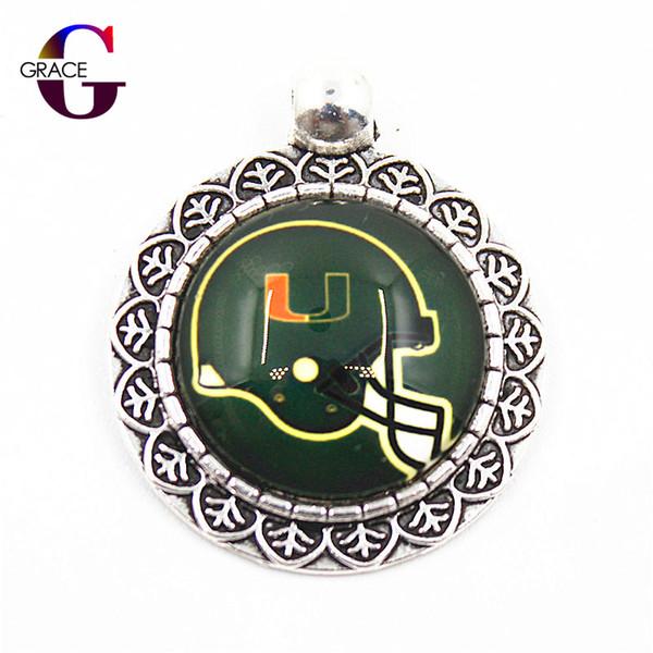 NCAA Miami Hurricanes équipe Sports Charms Suspendus Dangle Floating Charms Fit Femmes Collier pendentif Bracelets DIY Bijoux Accessoire