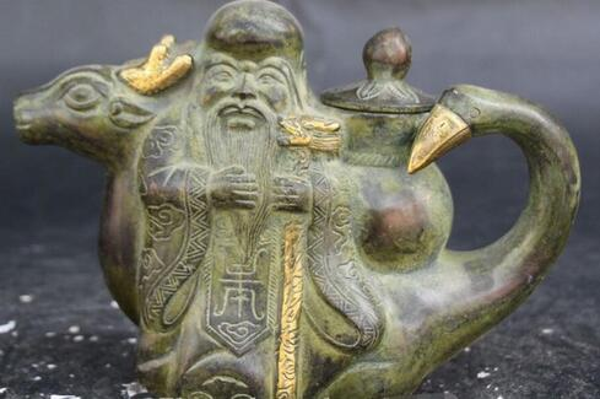 "7"" Old Chinese Bronze Gild Longevity Star Deer Crane Handle Wine Tea Pot Flagon"