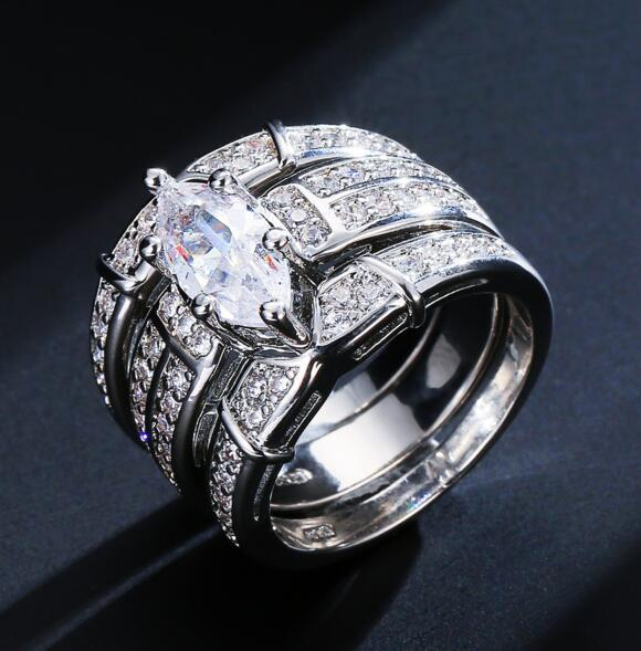 Couples Diamond Ring Set mens women Wedding bands ring Engagement zircon ring Silver Luxury Jewelry for Women gift
