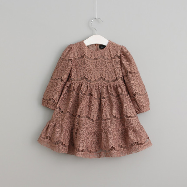 top popular Vieeoease Girl Dress Flower Kids Clothing 2018 Spring Fashion Long Sleeve Cotton Princess Lace Dress KU-075 2020