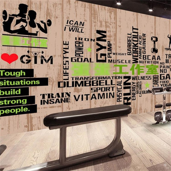 3D Bodybuilding Mural Gymnasium Club Grain Letter Background Wallpaper Large Three Dimensional Sports Wall Decor Stickers Hot Sale 25lz Ww