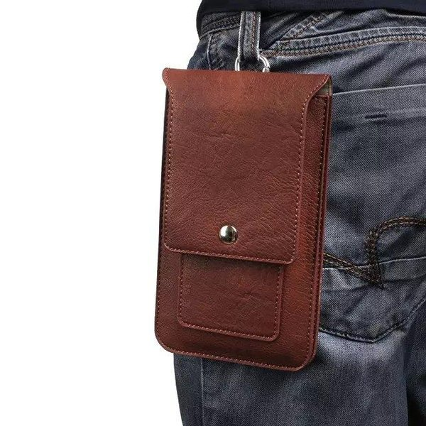 """For Most Phone Universal Phone Case Hip Belt Clip Cover Dual Pouch Credit Card bag Holster Flip PU Leather Waist Purse 6.3"""" Businiss"""