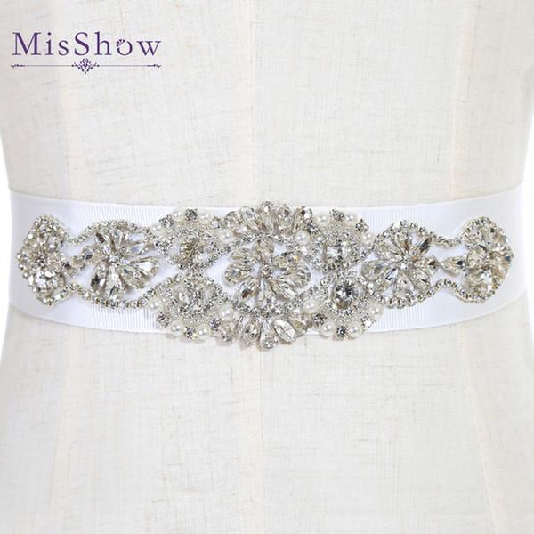 Moda Nupcial Caixilhos e Cintos Vestido de Noiva Faixa para o Casamento Frisado Strass Cristal Wedding Belt Baratos Em Estoque CPA786