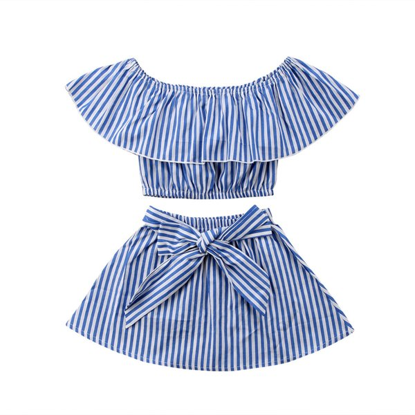 2018 New Fashion Cute Sky Blue Striped Newborn-Kids-Baby-Girls-Outfits-Clothes-T-shirt-Top-Tutu-Dress-Skirts-2PCS-Sets hot Sell