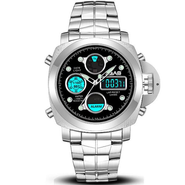 Montre Smart Watch Hommes Double Affichage Étanche Montre-Bracelet Ronde Mains Lumineuses Calendrier Metal Band Quartz Mâle Montres