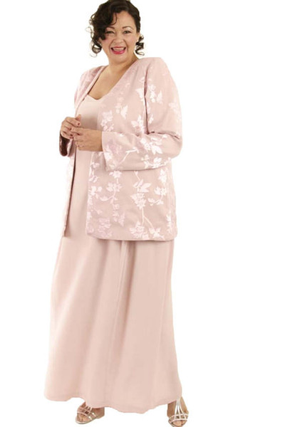 Pink Plus Size Mother Of The Bride Dresses With Jacket Lace Satin Chiffon Applique Two Pieces Elegant Evening Gowns Prom Dress Party Wear