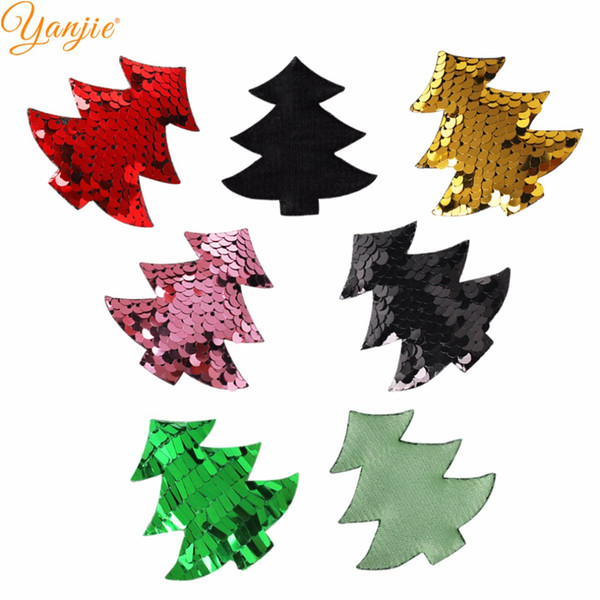 10pcs/lot New Arrival Christmas Reverse Flip Sequins Tree Felt Pads Handmade DIY Women Hair Accessories 2018 Festival Headband