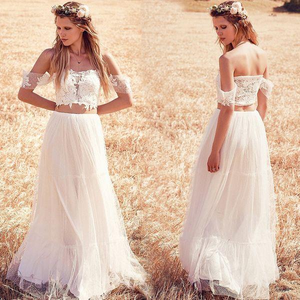 vestidos de noiva 2017 с плеча Boho свадебные платья кружева две части пляж свадебное платье богемный свадебные платья robe de mariee