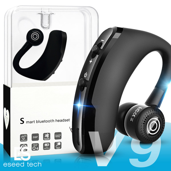 V9 Auriculares inalámbricos Bluetooth Business Earphone Drive Auriculares Auriculares con micrófono estéreo CSR 4.1 Control de voz con cancelación de ruido con paquete