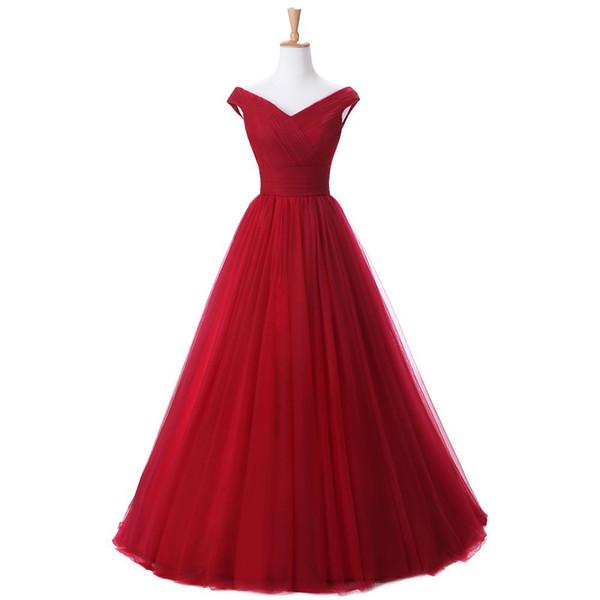 Elegant off the shoulder Bridesmaid Dresses Lace-up/Zipper Back Floor Length Bridesmaid Dress 2018 Red, Burgundy, Royal Blue, Dark Navy