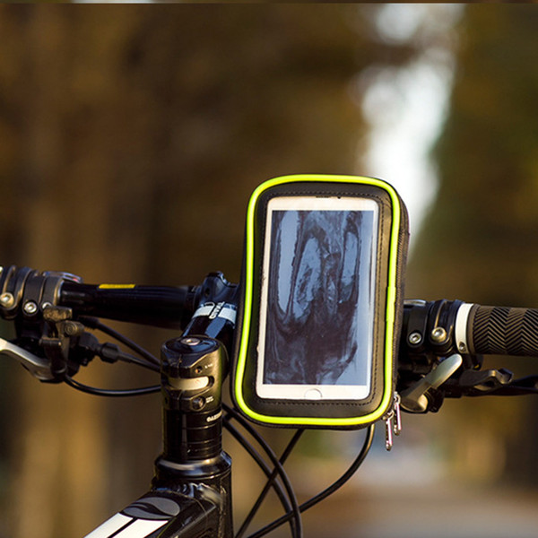 Waterproof Cycling Bicycle Frame Phone Bag Handlebar Case Touch Screen 4.5-6.0 inch Phone Bike Pouch U-shaped Double Zipper