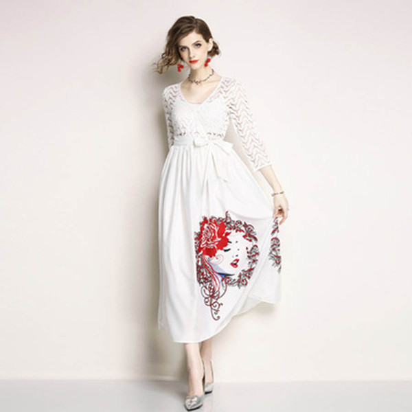 Korean Style Skirts Middle Long Summer 2018 Women S Clothing Seven Sleeves Slim Lace Dresses Designs Free Shipping Print Jumpsuits