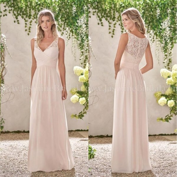 2018 Peach Pink Lace Chiffon Bridesmaid Dresses V Neck A Line Long Maid Of Honor Gowns Country Wedding Guest For Bridesmaids Ba6600 Champagne