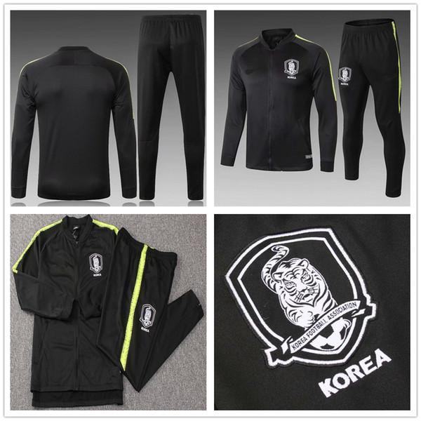 2018 2019 Corea del Sur Juego de chándal de fútbol Juego Chaqueta de fútbol negro Traje de entrenamiento Survetement Chandal Nombre personalizado S Y KI H M SON