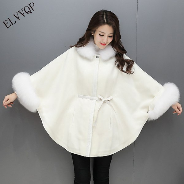2018 New Autumn winter fur Collar Cloak Woolen coat Women Casual Batwing Sleeve Long wool coat female Plus Size Outerwear LF561