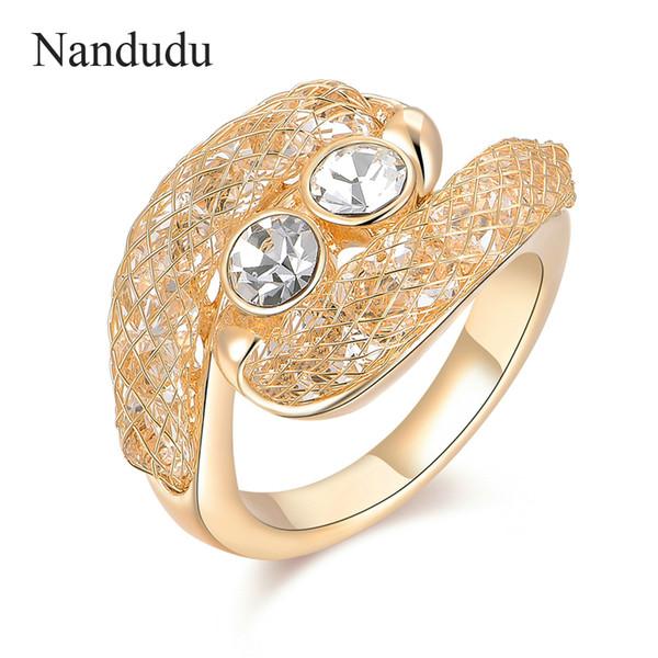 Nandudu ON SALE Austrian Crystal Mesh Net Rings for Women Gift New Fashion Wire Mesh Tube Design Ring Jewelry Gift R1205
