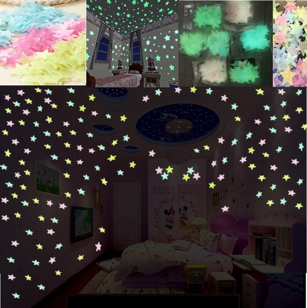 100Pcs Luminous Fluorescent Glow In The Dark Stars Wall Stickers For Kids Baby Bedroom Living Ceiling Home Decor removable DIY Decoration