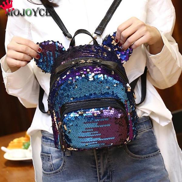 2018 Sacchetto di spalla paillettes brillanti donne zaini ragazze adolescenti viaggi mini sacchetti di scuola casual orso piccolo mochila feminina sac Y18110201