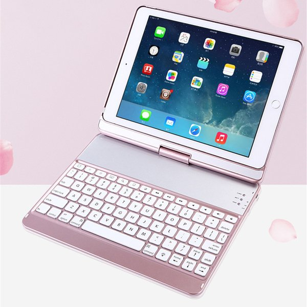 Wireless Bluetooth 3.0 Mini Keyboard Rechargeable Backlit Rotary Keypad Protect Case for iPad air / air2 / pro 9.7 inch Tablet