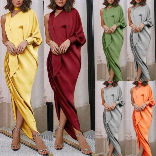 Fashion Women Ladies One Shoulder Long Sleeve Dress Long Loose Stretch Maxi Jersey High Waist Dresses