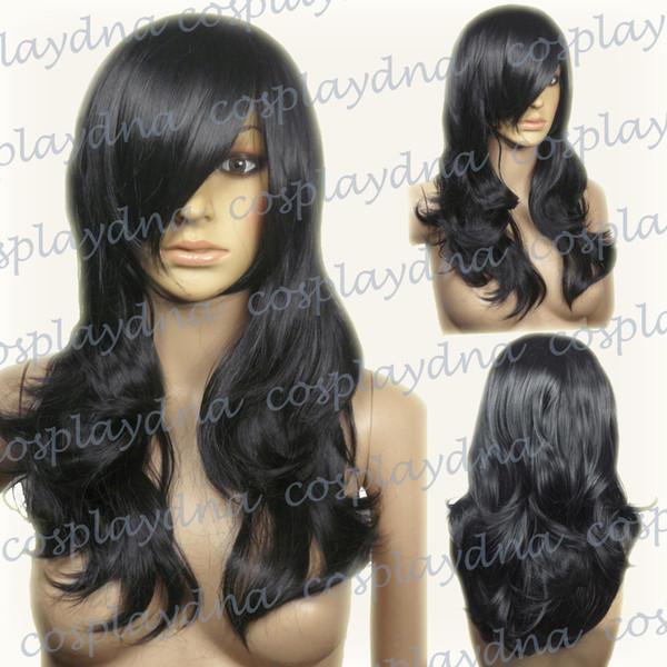 Livraison gratuiteRésistant à la chaleur noire longue couche perruques ondulées cosplay avec franges latérales