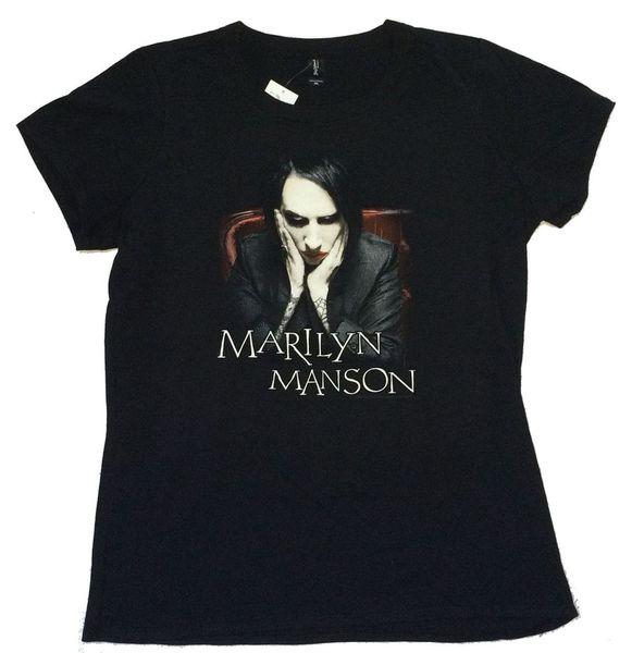 Marilyn Manson Big Face Girls Juniors Black T Shirt New Official Merch Men O-Neck Tee Shirt Print T-Shirt Mens Short