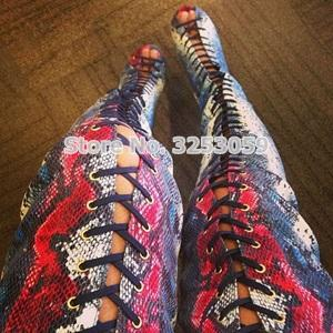 ALMUDENA Ladies Sexy Snakeskin Printed Cross-ties Long Boots Over-the-knee  Opent Toe Gladiator Sandal Boots Celebrity Dress Shoe a756fc19346a