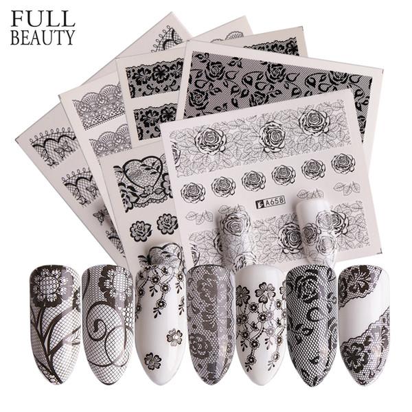 Full Beauty 40pcs Nail Sticker Black Lace Flower Full Warps Design Water Transfer Decal Tips Nail Art Decor Manicure CHA625-672