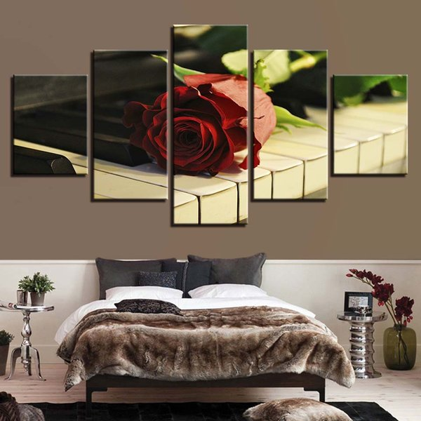 Canvas Paintings HD Prints Flowers And Music Pictures 5 Pieces Red Rose Piano Keys Posters Wall Art For Living Room Home Decor