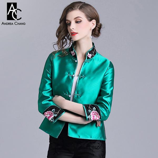 newest 43f60 8806e Acquista Giacca Donna Primavera Autunno Cappotto Rosa Motivo Floreale  Ricamo Polsino Collo Alla Coreana Giacca Rosa Verde Cappotto Giacca Stile  Cinese ...